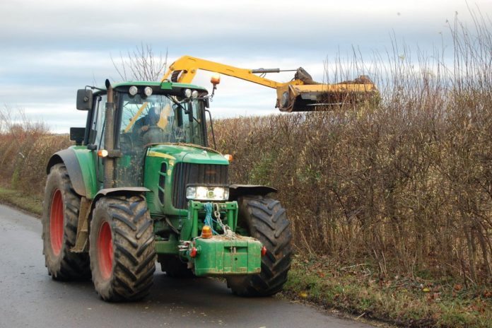 Hedge-cutting, roadways, road, tractor, hedge-cutter