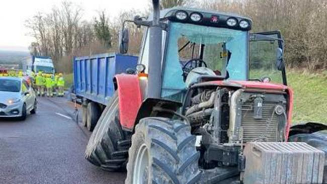 Tractor driver 'lucky to be alive' after collision with lorry