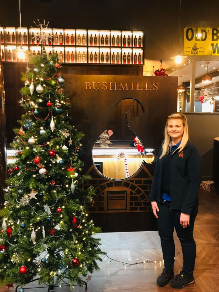 Michelle McGrath, a graduate from the College of Agriculture, Food and Rural Enterprise (CAFRE), is now following a career in health and safety within Bushmills Distillery.