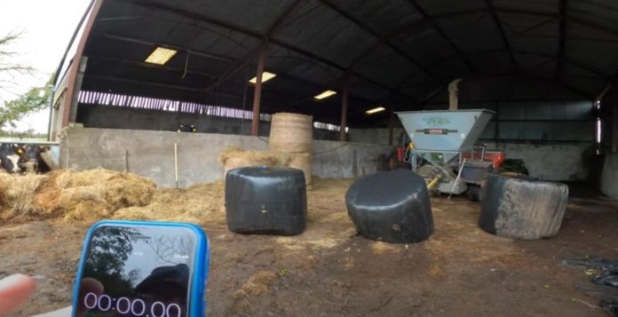 Bale challenge, silage bales, Farmer Phil, livestock shed
