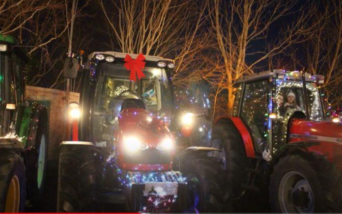 Christmas tractor run, tractors, machinery