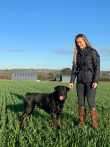 Katelynn Bracken, farmer, field, dog,