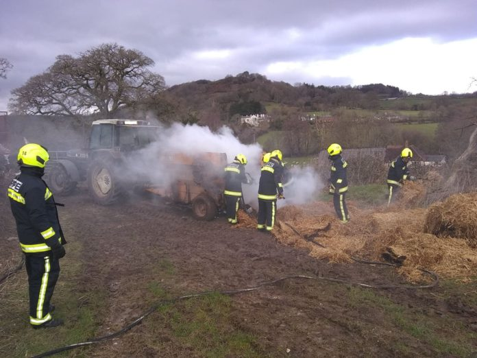 Tractor fire, fire, agricultural fire, fire units,