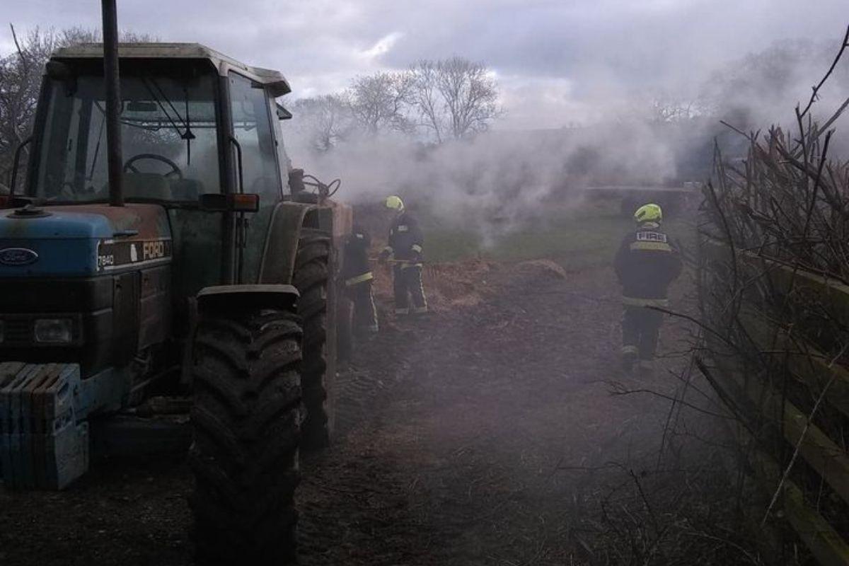 Tractor fire, fire, tractor blaze, farm fire, firefighters,