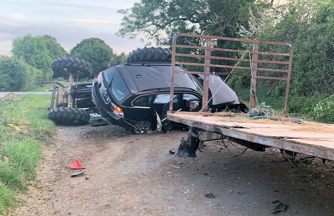 Sussex Police, tractor, crash