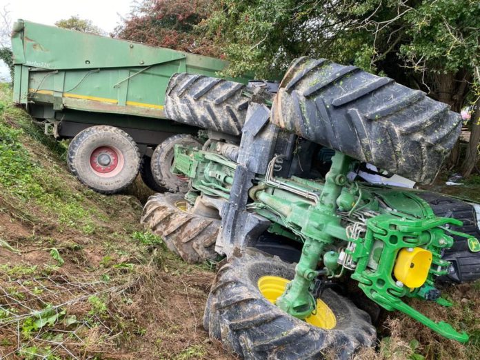 A tractor driver was hospitalised in recent days after the agricultural vehicle overturned. Dublin Fire Brigade attended the scene of the incident on Friday, September 17th, 2021.