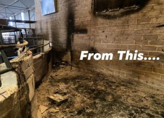 """According to a spokesperson for Cootehill Livestock Mart, an electrical fire turned one of its rostrums """"into cinders"""" last week."""
